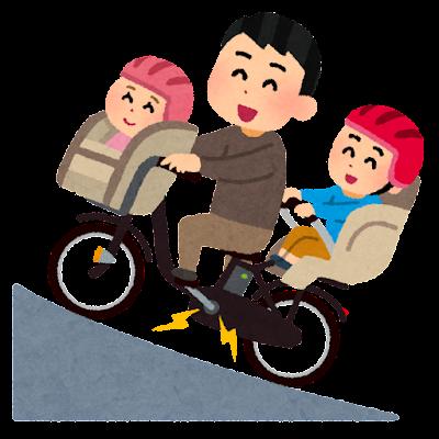 電動アシスト自転車で坂道を登るお父さんのイラスト
