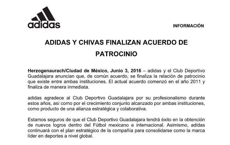 Adidas deja de vestir a las Chivas.