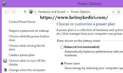Rubah pengaturan power option
