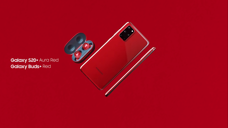 The Galaxy S20+ Jennie Red pairs well with the Galaxy Buds+ in Red