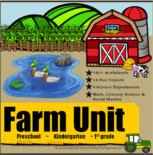 farm themed worksheets for preschool, kindergarten, 1st grade