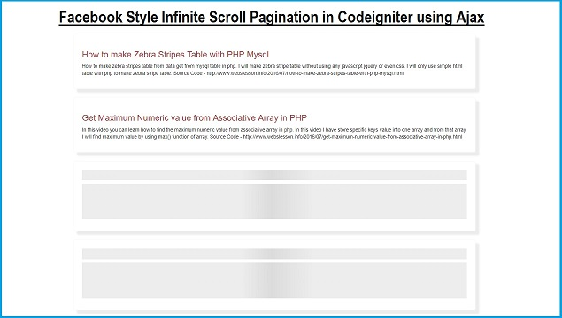 Codeigniter - Load More Data on page scroll using Ajax | Webslesson