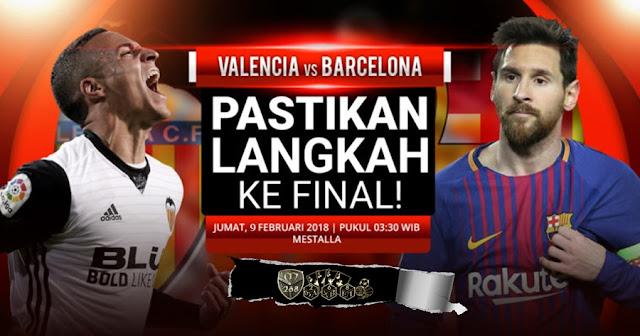 Prediksi Valencia Vs Barcelona , Jumat 09 February 2018 Pukul 03.30 WIB