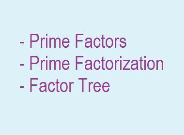 Prime Factors   Prime Factorization   Factor Tree