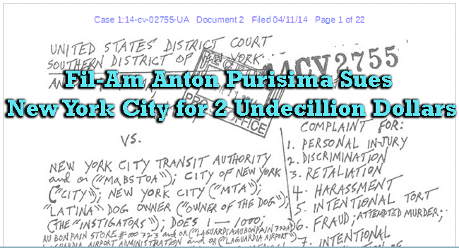 Fil-Am Anton Purisima Sues New York City for 2 Undecillion Dollars