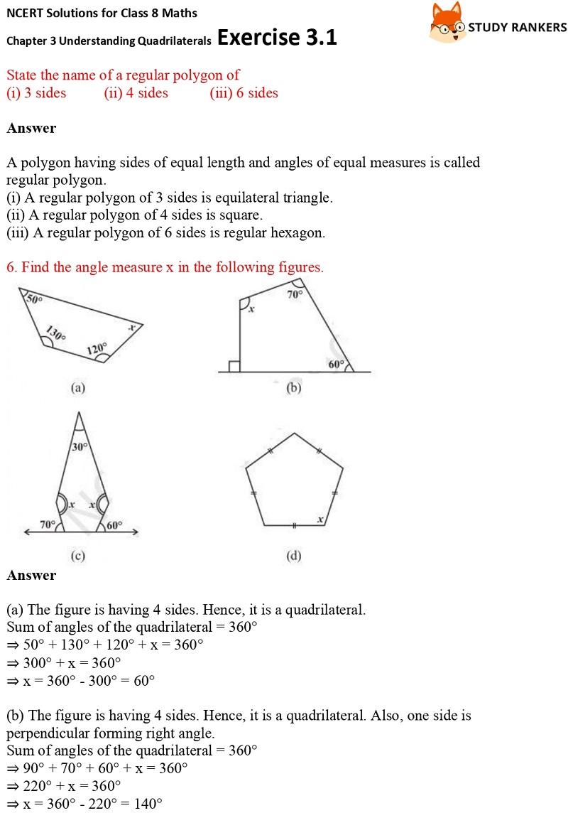 NCERT Solutions for Class 8 Maths Ch 3 Understanding Quadrilaterals Exercise 3.1 4