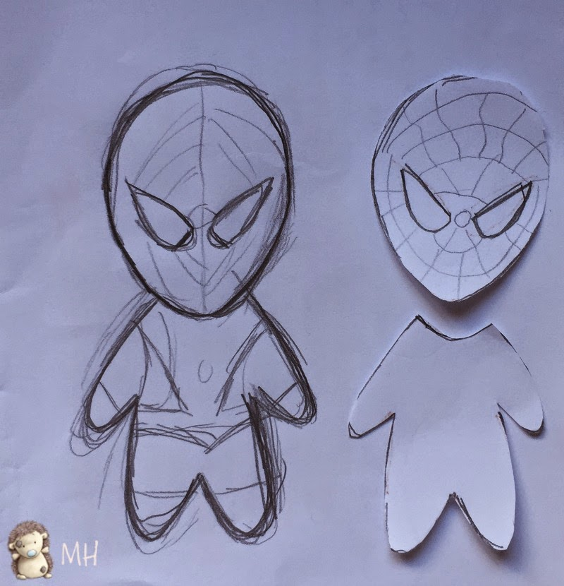 Spiderman en fieltro, dibujo