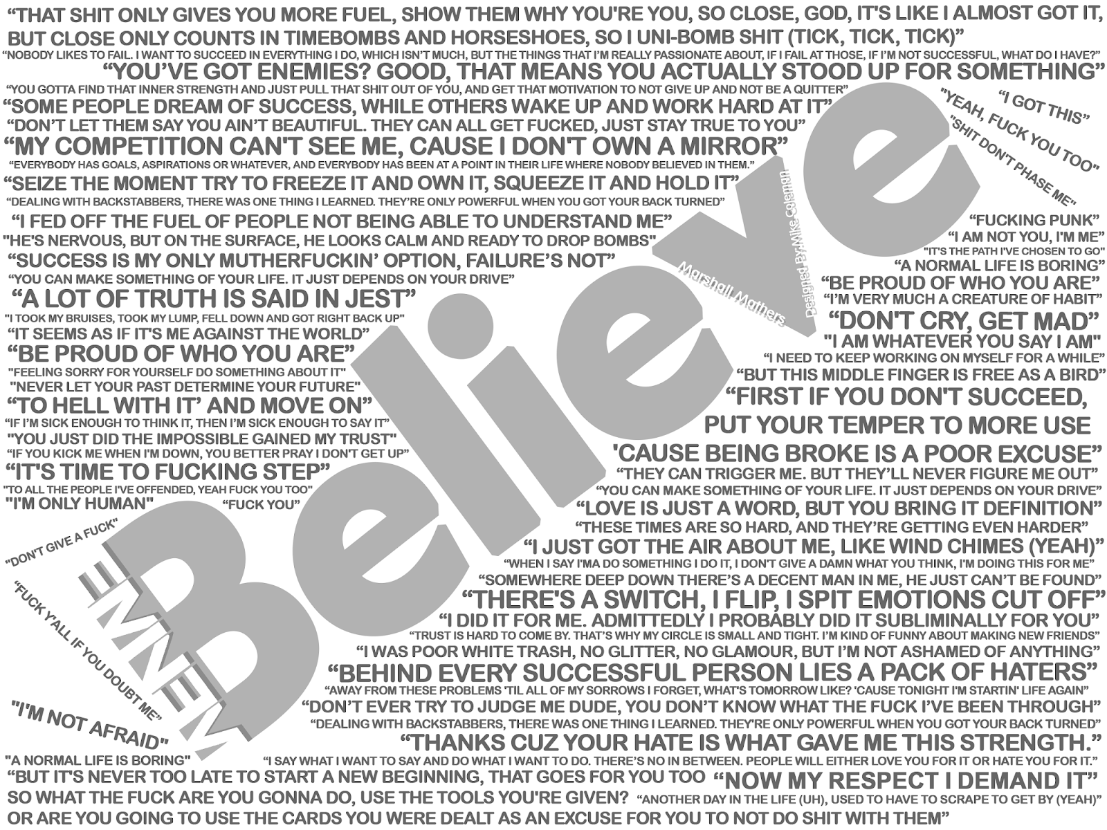 Eminem Believe with white background