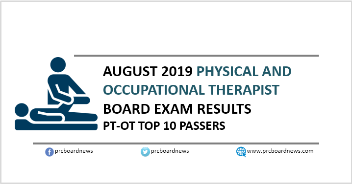 PRC RESULT: August 2019 Physical, Occupational Therapist PT-OT board exam top 10