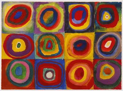 Famoso quadro de Kandinsky com quadrados e círculos dentro, onde ele testava o contraste das cores