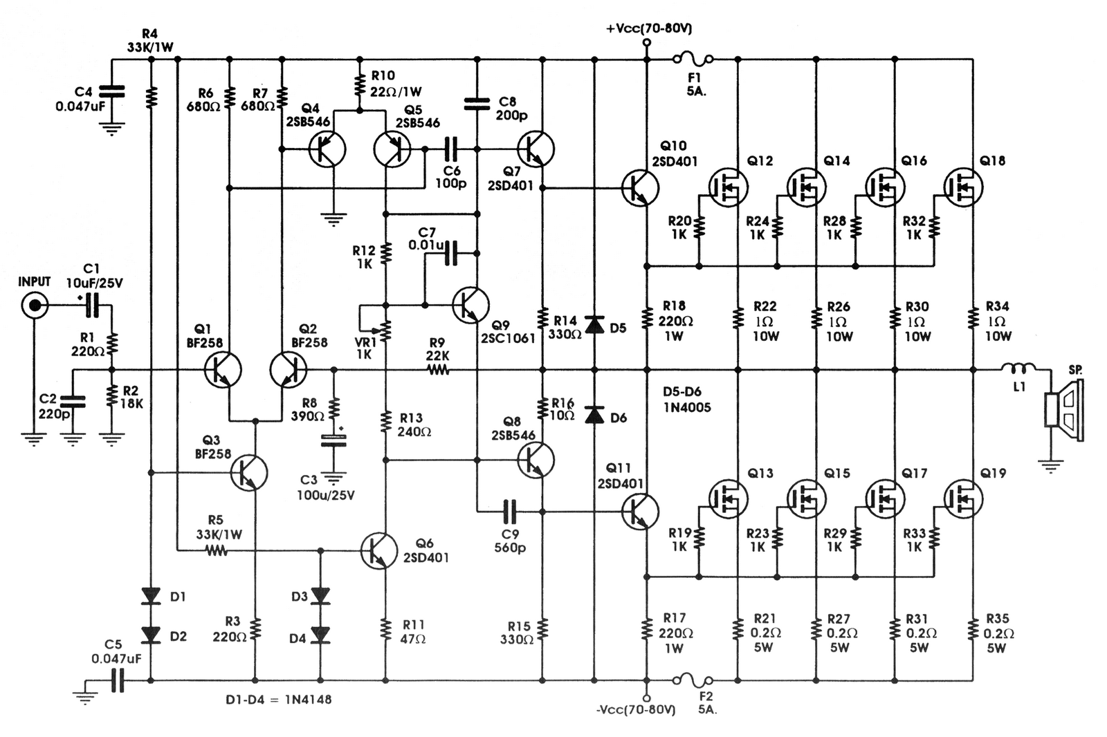 100w subwoofer amplifier circuit diagram two switch light ampcircuitschematic bl