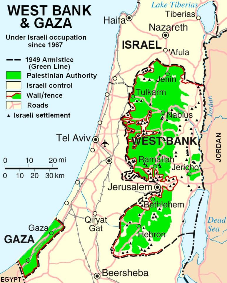 Bản đồ mô tả các vùng đất của PALESTINE VÀ ISRAEL