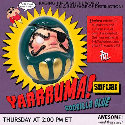 Y'arrruma Daruma Godzilla Blue Edition Soft Vinyl Figure by PNL Toy Works