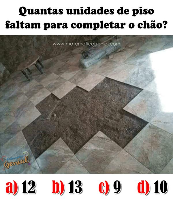 Desafio: Quantas unidades de piso faltam para completar o chão?