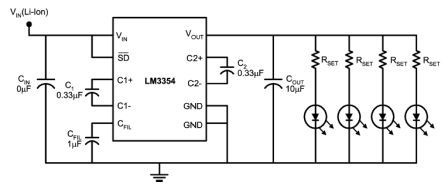 Driving White LED with LM3354 Switched Capacitor Voltage