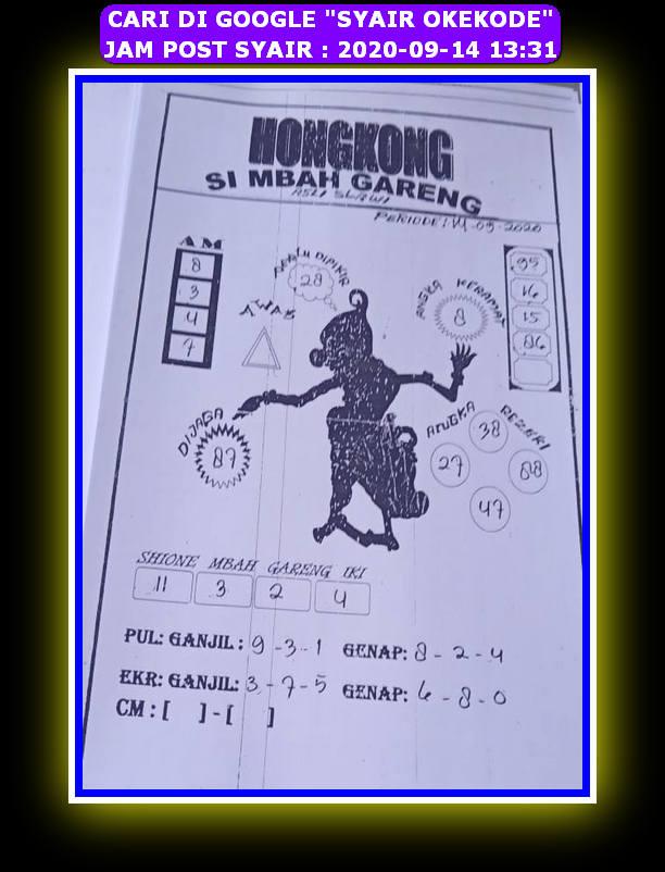 Kode syair Hongkong Senin 14 September 2020 101