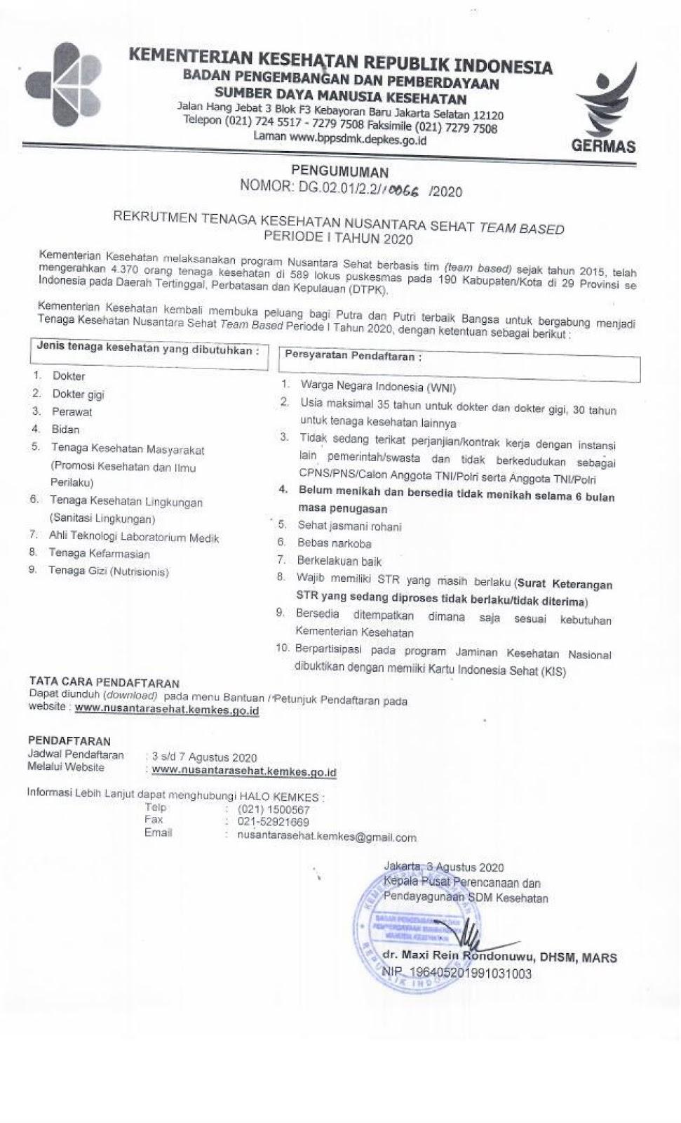 Pendaftaran Nusantara Sehat  Kementerian Kesehatan