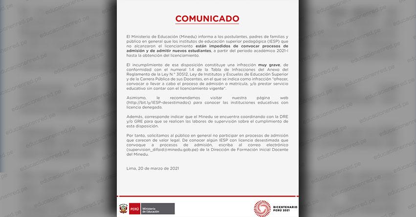 COMUNICADO MINEDU: Sobre los procesos de admisión convocado por los IESP - www.minedu.gob.pe