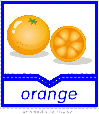 Orange - English flashcards for the fruits, vegetables and berries topic