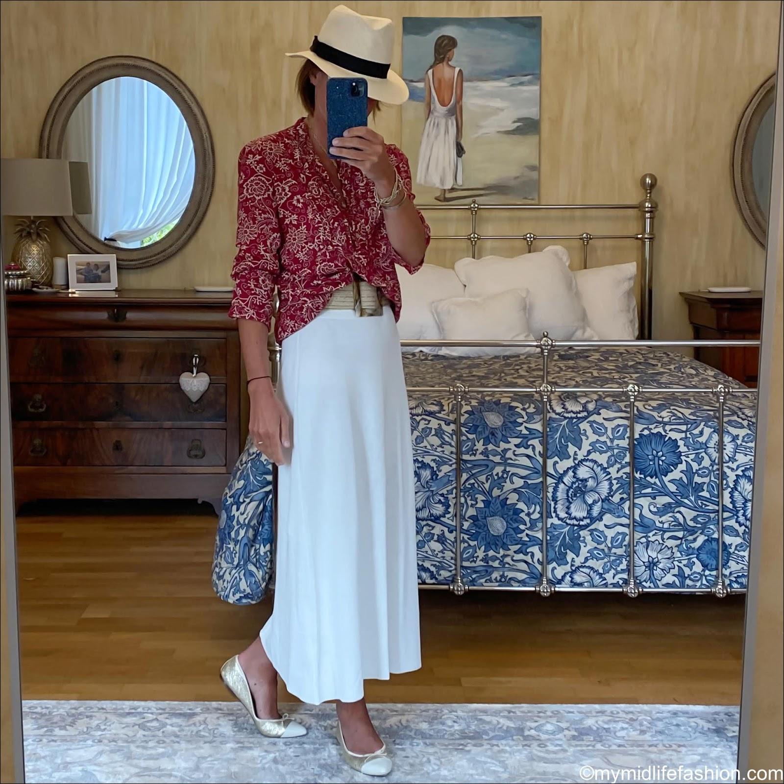 my midlife fashion, h and m Panama hat, Isabel Marant Etoile boho blouse, zara woven belt, zara knitted midi skirt, j crew two tone pointed ballet pumps