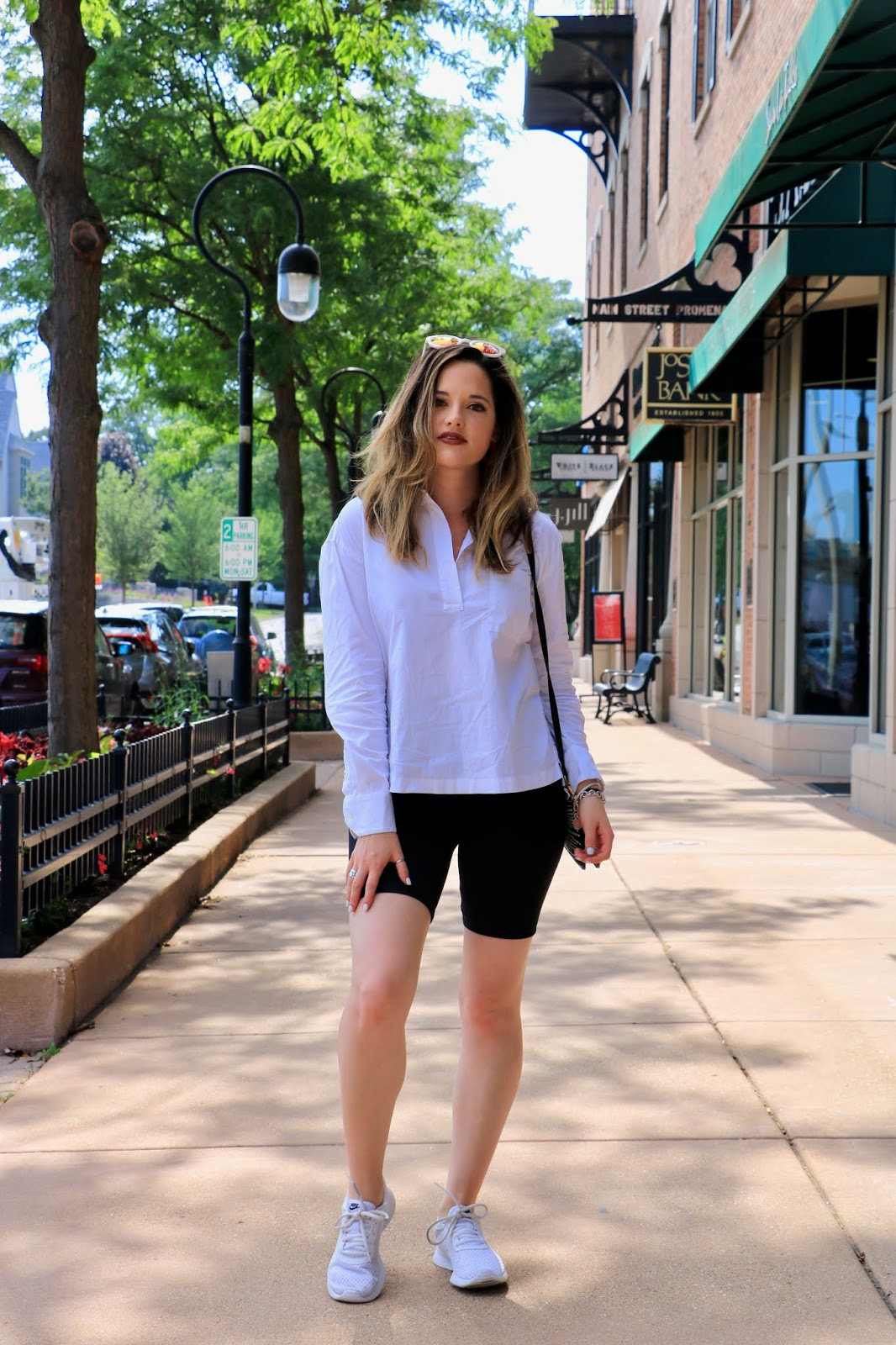Nyc fashion blogger Kathleen Harper wearing a bike shorts outfit.