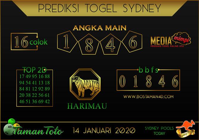 Prediksi Togel SYDNEY TAMAN TOTO 14 JANUARI 2020