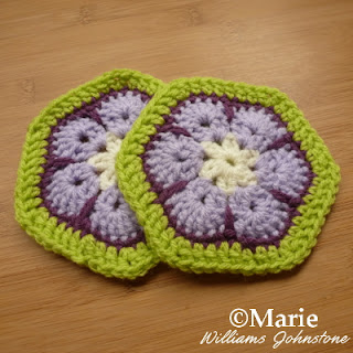 Hexagonal African flower motif shape crocheted
