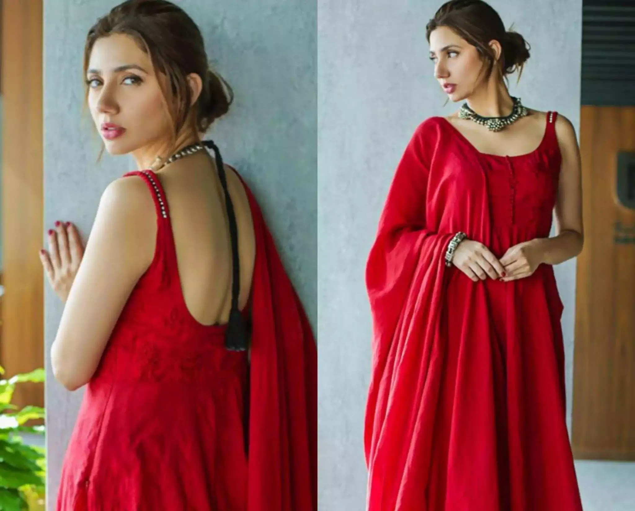 Beautiful Pictures of Mahira Khan Wearing Red Frock