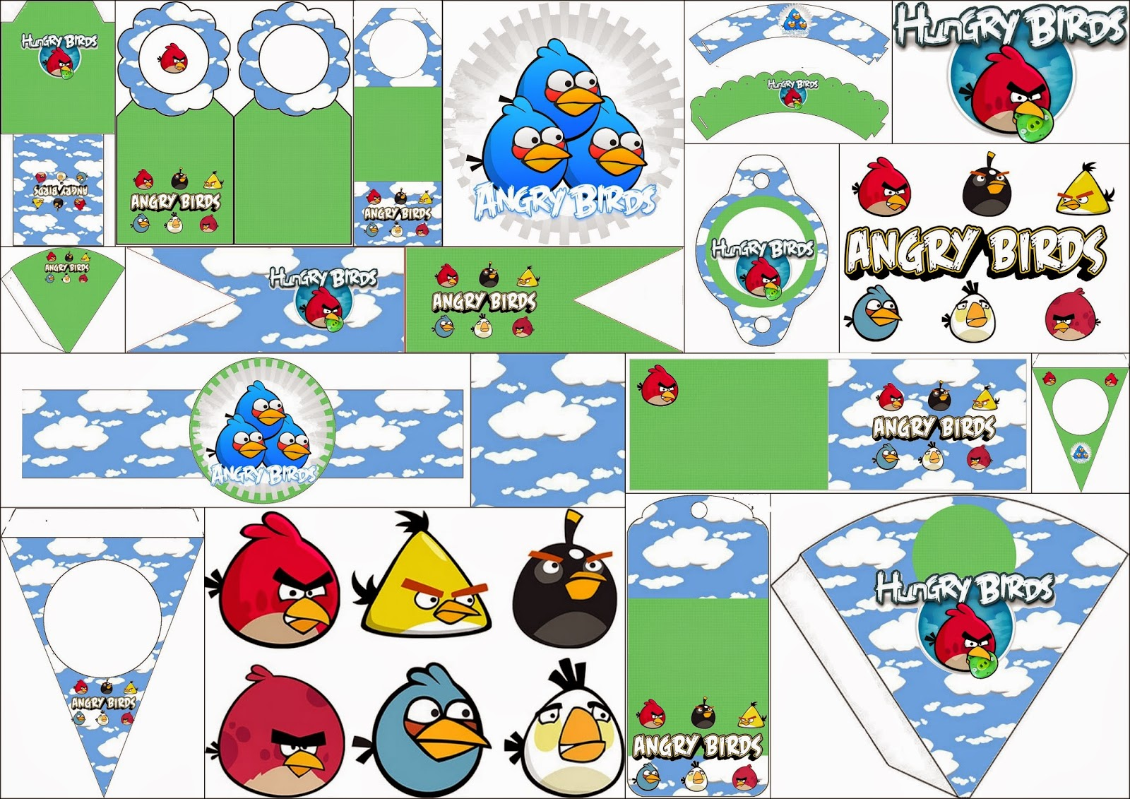Angry Birds With Clouds Free Party Printables