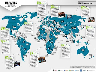 Map shows number of libraries per country and major library projects in developing countries