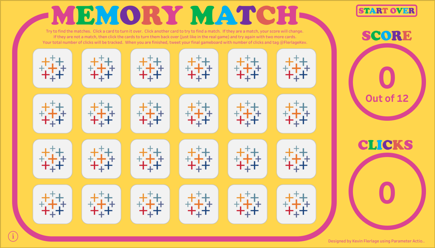 Memory Match Using Parameter Actions