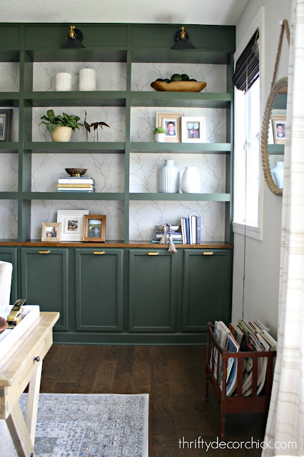 DIY green bookcases office