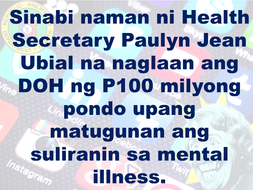 The Department of Health expressed concern  over possible mental illness among the young people due to the alarming amount of time they spend on social media.  According to DOH spokesman, Eric Tayag, while social media is a way to connect to other people, it also has adverse effects.  Tayag also said that most juveniles that are fond of social media are also involved in bullying, angst and depression.  Bullying and depression can start with issues about love, relationship with the same sex, unplanned pregnancy, problems at school, at home and health problems.  Common symptoms that a person is experiencing depression is that  they do not do daily activities normally like taking a bath, skipping meals, always sad and not engaging in conversations.   {INSERT 2-3 PARAGRAPHS HERE} {INSERT ANOTHER 5 {INSERT 2-3 PARAGRAPH   The severe depression that burdened the young people through social media results to bullying. even social media creates a connection, people with mental health issues perceive it differently.  DOH step is a response to the World Health Organization (WHO) reports that from 2005 to 2015, the number of people who suffer depression that leads to committing suicide has increased to 18%.  WHO celebrated  World health Day that focused on how to cure depression problems. It can be cured by means of counselling.  In 2005, 280 million people suffered from depression and has increased to 332 Million in 2015. This is a serious threat to all the young people around the world including the Filipino youth.  In the records of the DOH HOPE Line, they have received 3,479 depression  related phone calls in 2016. Most number of calls are recorded on November and December last year and on February this year.  Health Secretary Paulyn Jean Ubial said that the DOH has allocated P100 million funds to address the said problem in mental illness . Source: Philstar Recommended: Facebook has been a part of everyday life for many. From here they can be aware of what's currently happ