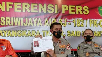 1 Korban Kecelakaan Sriwijaya Air SJ182 Teridentifikasi Atas Nama Okky Bisma