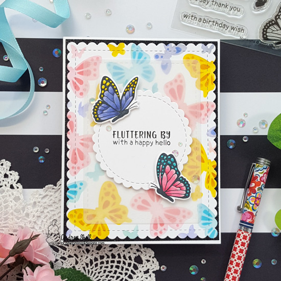 Butterfly Card by Andrea Shell  | Monarchs Stamp Set, Butterflies Stencil Set, Frames & Flags Die Set and Circle Frames Die Set by Newton's Nook Designs #newtonsnook #handmade