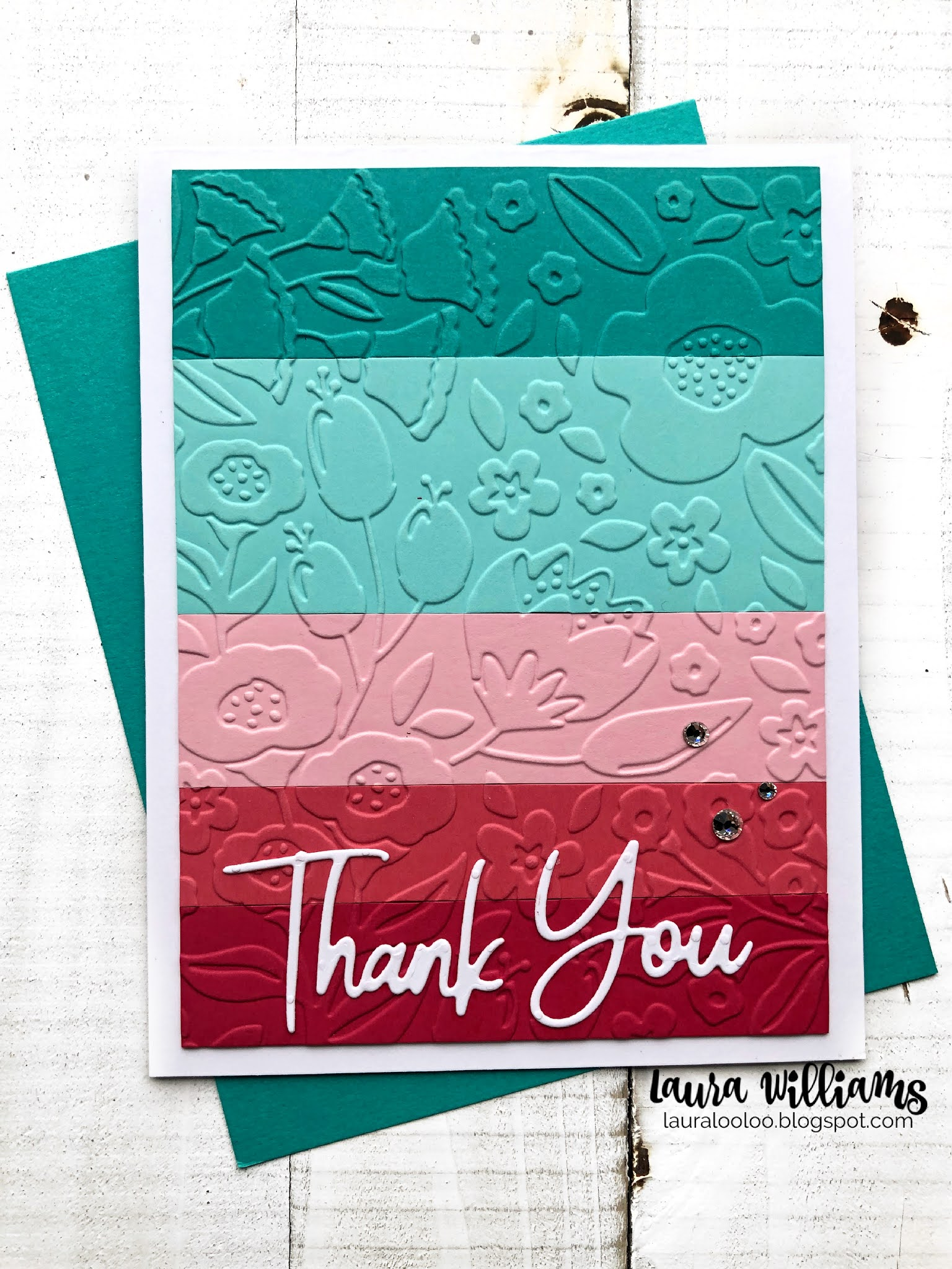 Colorful Striped Thank You Card Idea Using an Embossing Folder from Spellbinders