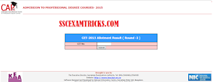 KEA CET 2015 2nd Round Result