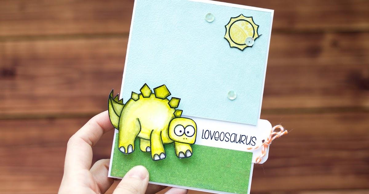 Как сделать открытку с динозавром