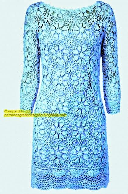 Vestido celeste mangas largas crochet