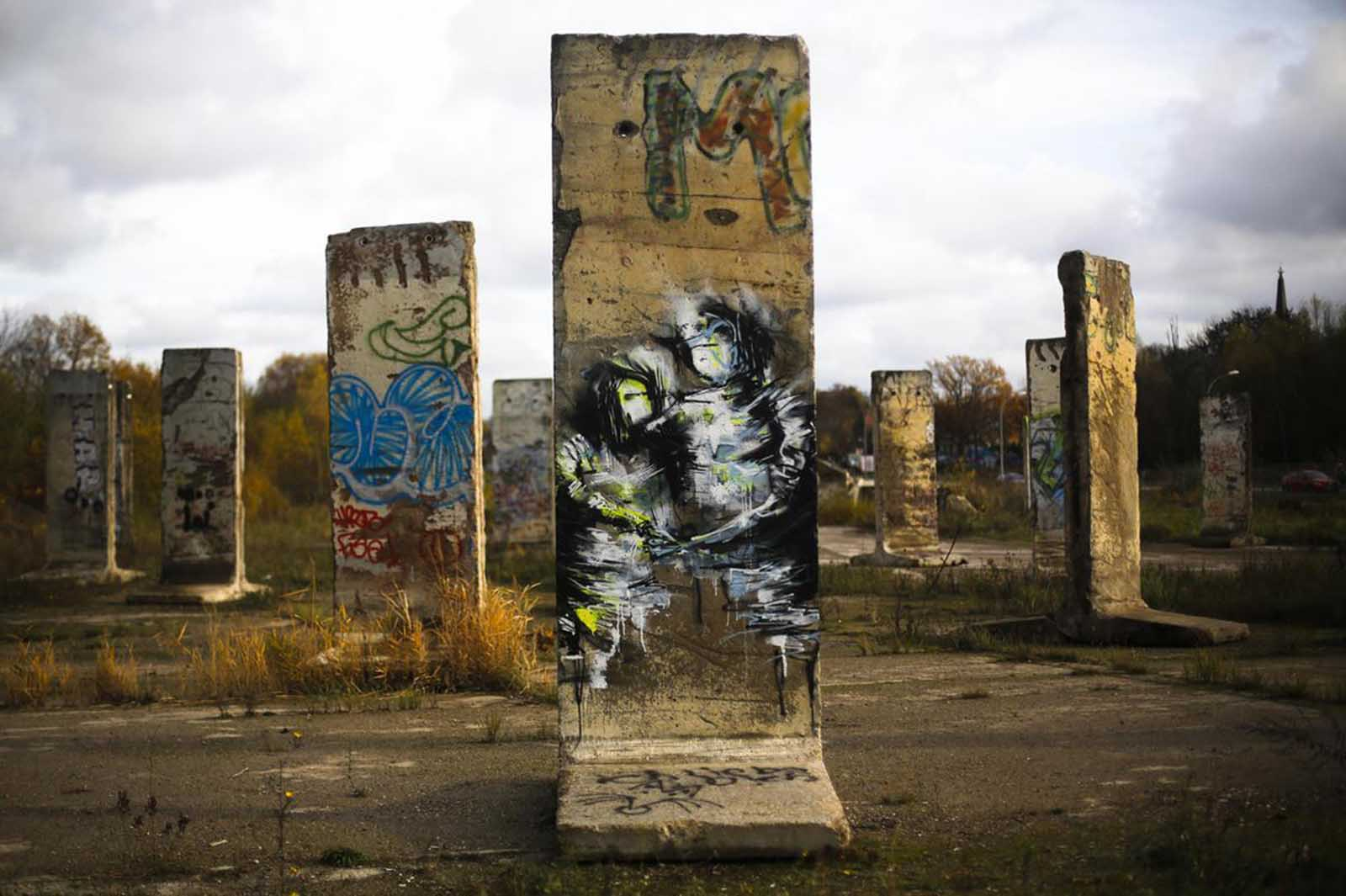 Decades later, the Berlin Wall is a memory, pieces of it scattered around the world. Here, some original pieces of the wall are displayed for sale at the city of Teltow near Berlin, on November 8, 2013
