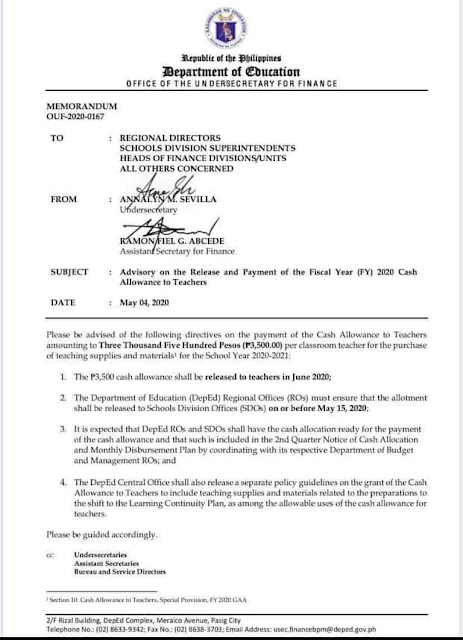 Advisory on the Release and Payment of FY 2020 Cash Allowance to Teachers