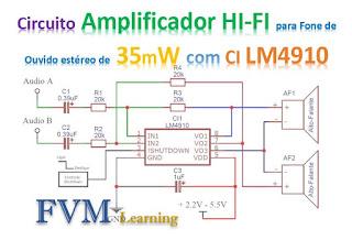 Circuito Amplificador HI-FI para Fone de Ouvido estéreo de 35mW com CI LM4910