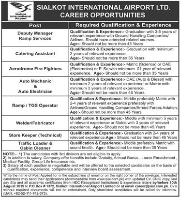 Sialkot International Airport Jobs 2019