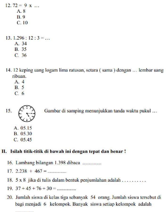 Soal Olimpiade Matematika Sd Kelas 3 Dan Kunci Jawaban Guru Galeri