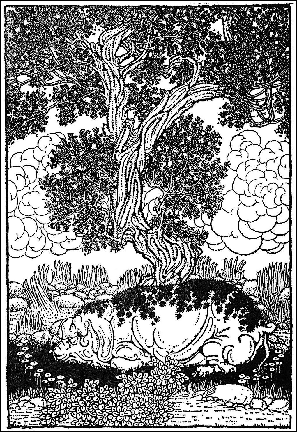 Dugold Stewart Walker, hog sleeping in shade