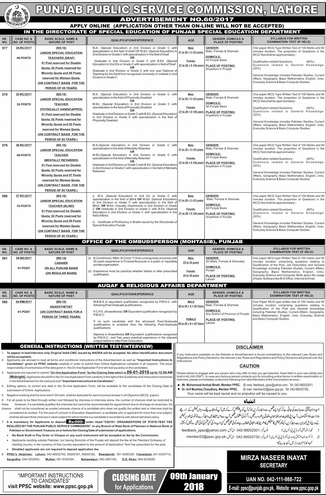 Junior Special Education Teachers Jobs in PPSC 2018