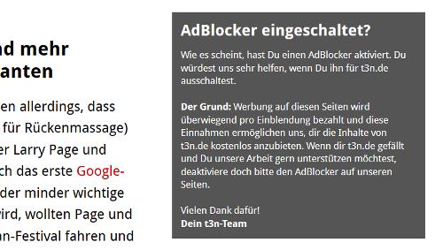 t3n.de bittet seine User, ihre Adblocker auszuschalten.