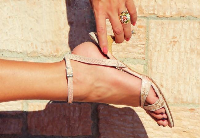 blush pink suede snakeskin sandals
