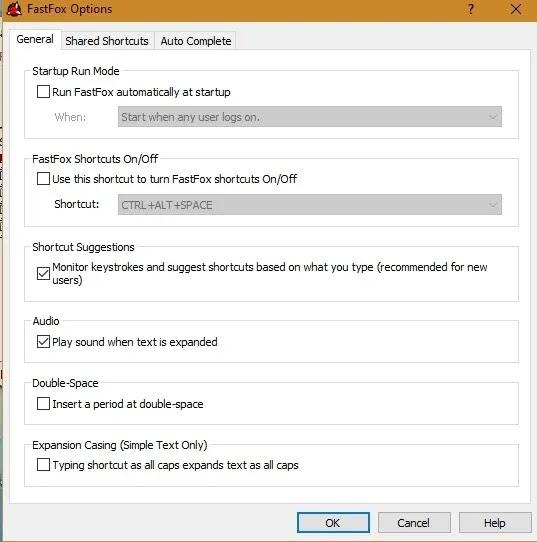خيارات توسيع النص Fastfox