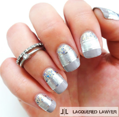 Silver Striped Nail Art